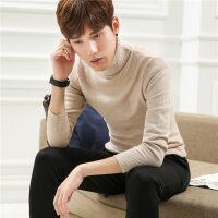 秋季薄款青年男士高领毛衣一寸领针织衫修身打底衫学生羊毛衫圆领