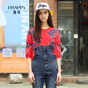 海贝秋装新款街头风撞色字母印花中袖圆领T恤