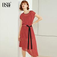 【2件3折到手价:189】OSA欧莎红色雪纺连衣裙2021新款夏中长款格子无袖裙子女收腰显瘦