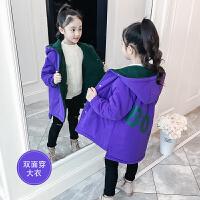 儿童棉衣冬季2018新款中长款棉袄双面穿加绒加厚外套女孩
