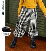 【年终狂欢 2件4折价: 96】迷你巴拉巴拉儿童裤子男女童收脚裤2019冬新品格子充棉长裤灯笼裤