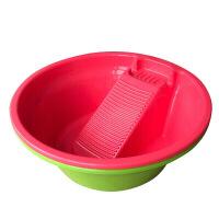 家居用品塑料加厚搓衣板洗衣盆带搓衣板特大号洗衣盆带搓板家用脸盆学生盆 洗衣盆直径57 高度21红色CM