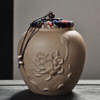 【特惠�】精品茶�~罐汝�G陶瓷罐紫砂普洱大�茶罐密封陶罐香粉罐醒茶罐