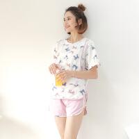 【新品特惠】 夏季薄款短袖孕妇睡衣套装夏天哺乳睡衣时尚喂奶家居服产后月子服 A粉红色