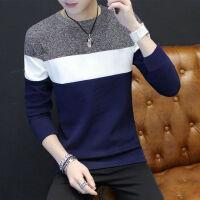 毛衣男韩版圆领套头宽松条纹拼接男装长袖针织衫毛线衣男士羊毛衫
