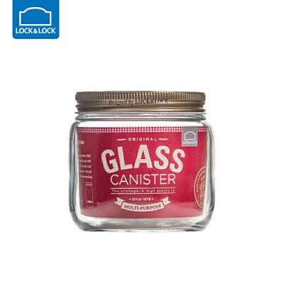 乐扣乐扣杂粮储物罐大号玻璃密封罐收纳罐子玻璃瓶子带盖厨房家用圆形0.5L 玻璃材质 收纳整理 多彩厨房