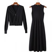 超值开衫加毛衣裙两件套秋冬修身显瘦中长款针织连衣裙女装厚 黑色 两件套