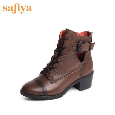 SAFIYA牛皮圆头镂空粗跟皮带扣女短靴SF54117144