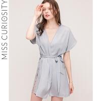 好奇蜜斯睡袍短袖日式系带睡衣女夏薄款短款浴袍外套晨袍超薄浴衣