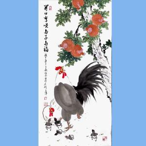中国非物质文化遗产保护联盟书画艺委会委员,三秦书画院理事赵松林(开口常笑多子多福)