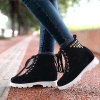 彼艾2017秋冬新款少女中小学生大童孕妇平底短筒靴防滑系带韩版甜美雪地靴