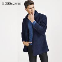 BOSSSUNWEN羊毛呢子外套2018秋冬新款男士短款立领夹克毛呢大衣