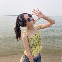 韩版夏季女碎花小吊带+防晒衣外套女雪纺衫洋气仙外搭披肩开衫 均码
