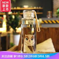 玻璃杯便携可爱 杯子女学生韩版情侣水杯一对 韩国清新杯简约