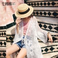 七格格雪纺披肩夏季女配裙子2019新款中长款上衣开衫长袖蕾丝小衫