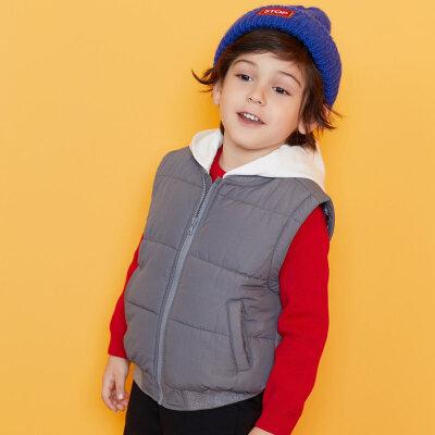【3件3折:89.7】安奈儿童装男童带帽棉马甲2019冬装新款小童加厚保暖马甲 拼色带帽设计,款式简约时尚