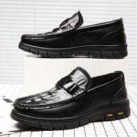 承发 商务休闲皮鞋子男士套脚鳄鱼纹时尚软底驾车耐磨舒适 25124