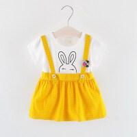 童裙夏季连衣裙女童0-3岁背带裙宝宝短袖假两件裙子