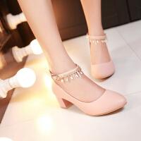 彼艾2018春季新款女鞋韩版甜美浅口女鞋尖头高跟鞋粗跟中跟单鞋水钻一字扣