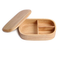 日式木质带分格便当盒 学生便携饭盒寿司盒刻字