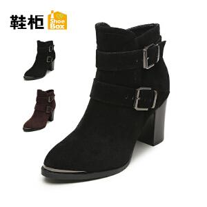 【双十一狂欢购 1件3折】Daphne/达芙妮旗下鞋柜 冬款欧美简约粗跟皮带扣布女靴单皮靴高跟鞋