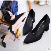 新款浅口尖头高跟鞋粗跟甜美女鞋子绒面性感高跟单鞋女
