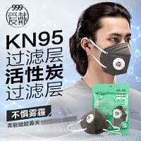 【买2送1】999爱戴口罩 防霾防尘透气pm2.5活性炭带呼吸阀 灰色3只装*2袋装