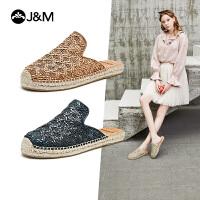 jm快乐玛丽2021夏季新款编织平底镂空麻底百搭穆勒拖鞋包头凉鞋