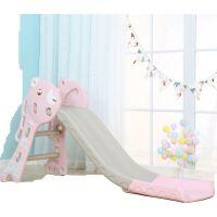 儿童滑滑梯室内家用单滑梯幼儿园滑梯加厚宝宝小型滑滑梯乐园玩具 小熊双段基础款 粉色