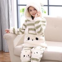 儿童睡衣冬季法兰绒女孩秋冬珊瑚绒家居服中大童套装