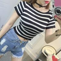 韩版露脐短款上衣女夏装短袖学生漏肚脐T恤针织短装紧身衣服高腰 均码