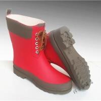 秋冬主打拼色女款雨靴中筒雨鞋防滑女式马丁靴