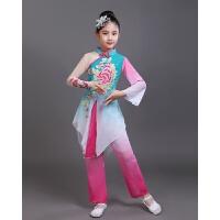 新款儿童古典舞演出服装女扇子舞少儿舞蹈表演服装飘逸伞舞秧歌服