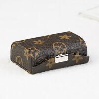 口红盒子 复古口红收纳盒首饰盒双条装皮质唇膏盒带镜子多功能实用创意礼品送闺蜜送朋友 深咖